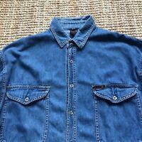 Vintage Men's ** JIGGLERS ** Denim Shirt Long Sleeve Size L Large VGC Retro