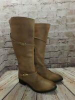 Womens Atmosphere Light Tan Leather Low Heel Knee High Boots UK 8 EUR41 Wide Fit