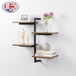 4 Tier vertical Black floating decor shelves MDF wood rustic shelf metal wire