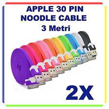 2X Cavi Dati PIATTI 30 PIN 3 Metri 3m - Iphone 3/4/4S iPad