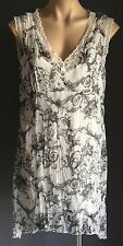 Stylish TARGET White & Black Sheer Sleeveless Tunic Top Size 12