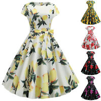 Womens 1950s 60s Floral Rockabilly Vintage Retro Party Eveing Swing Audrey Dress