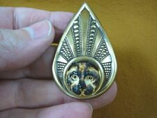 (j-wolf-74) brown Wolf pup aceh bovine bone carving brass teardrop pin pendant