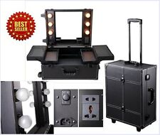 Portable Rolling Studio Makeup Artist Station Cosmetic Organizer Lights Mirror