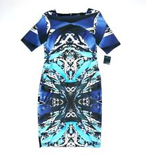NEW NWT $98 GABBY SKYE PURPLE BLACK TURQOISE S/S GRAPHIC DESIGN DRESS SIZE 6