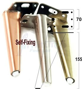 4x METAL FURNITURE LEGS 155mm HIGH SELF-FIXING FEET FOR SOFA CHAIR CABINETS BED