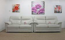 2x G Plan Shalbourne / Shrewton Capri Chalk Leather 2 Seater Static Sofas