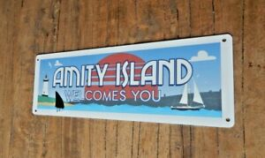 AMITY ISLAND WELCOMES YOU Tin metal sign Jaws Shark UK seller