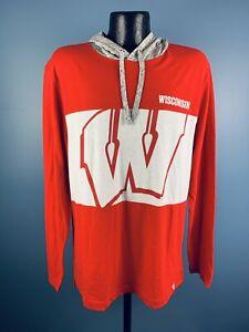 Men's Fanatics Wisconsin Badgers Red Poly/Cotton LS Sweatshirt NWT L