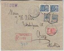 Estonia Reg. letter to Austria with pair of cutted blacksmith stamps 1922