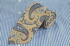 Blake & Hudson Men's Gold Brown & Blue Paisley Woven Silk Necktie 61 x 3.5 in.