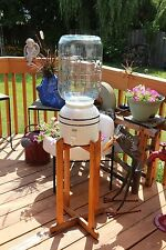 Vintage Blue & White Ceramic Water Jug with Oak Stand & 5 Gallon Bottle