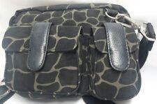 Baggallini Black/Olive Giraffe Print Crossbody Purse Organizer Messenger Handbag
