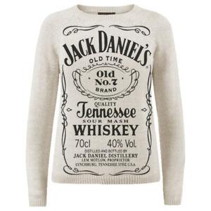 Women Knit Jack Daniels Sweater Pullover Jumper Modern Acrylic Cotton S M L