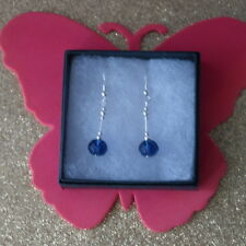 Beautiful Silver Earrings With Faceted Blue Crystal Beads 3 Gr. 3 Cm. Long +Hook