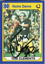 1990 Notre Dame TOM CLEMENTS Signed Card GB PACKERS rc LAMBEAU FIELD