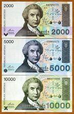SET, Croatia, 2000;5000;10000 Dinara, 1992, Pick 23;24;25, UNC