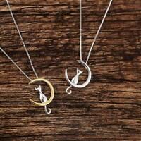 Cute Choker Kitten Chain Gold Silver Plated Jewelry Moon Cat Pendants Necklace