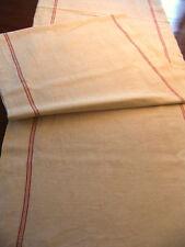 Coupe de 5m20 de lin écru à 2 liteaux rouge largeur 61 cm  état neuf