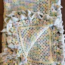 "Vintage Hand Crochet Afghan Baby Blanket CATS Handmade 30x40"""