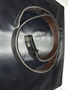 Pierre Cardin Leather Belt Black Brown Silver 43.75 Inches Long
