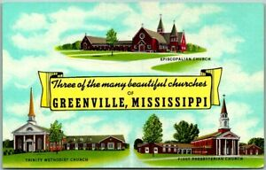 """GREENVILLE, Mississippi Postcard """"3 of the Many Beautiful Churches"""" Linen 1940s"""