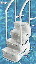 Innovaplas Biltmor In-Pool Above Ground Pool Step w 2 Handrail & Deck Mounts