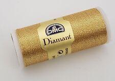 DMC DIAMANT METALLIC EMBROIDERY THREAD NO. D3821 35 METER SPOOL SOFT GOLD