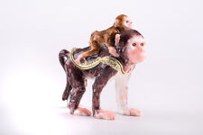 Monkey Faberge trinket box hand made by Keren Kopal w/ Austrian crystal