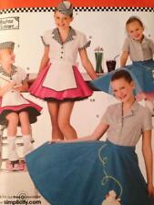 Simplicity Sewing Pattern 3836 Girls Poodle Skirt Shirt Costume Size 7-14 Uncut