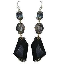 Black Beaded Fashion Earrings Chunky Clear Faceted Smoky Designer Long Women New