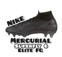 Sz 6 Nike Mercurial Superfly 6 Elite FG Black Soccer Cleats AH7365-001