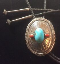 Bolo Tie. Hurbert Yowytewa? Vintage Turquoise And Coeal Large
