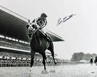Ron Turcotte 1973 Belmont Stakes Secretariat Signed 16X20 B&W Photo PSA/DNA