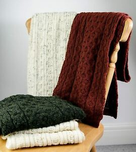 Knitted Aran Scarf - Made with 100% British Wool - Cream, Red, Green, Blue, Grey