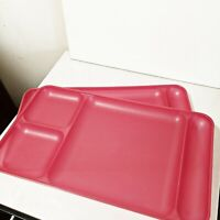 Vintage Tupperware Divided Food Serving Trays 1535-4 Set of 2 Red Stackable USA
