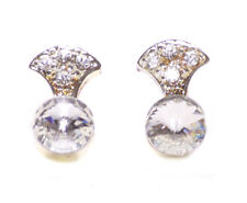 Sophisticated & Opulent - Diamanté Encrusted Chrome/ Metal Stud Earrings(Zx196)