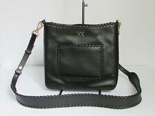 Michael Kors Gloria Pocket Swing Pack Black Leather Messenger Shoulder Purse