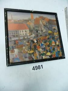 """4981. Alter Jugendstil Rahmen mit Bild """"Marktszene"""""""