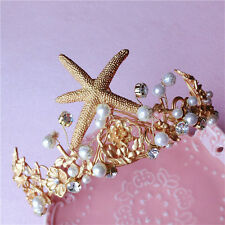 Wedding Bridal Pageant Gold Starfish Crystal Crown Tiara Hair Accessories Band