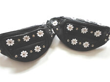 100% Genuine Black Leather Bum Bag - Daisy Flowers & Studs  -  Festivals, Travel