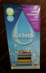 E-Cloth Home Cleaning Set with 8 Cloths: Bathroom/Stove/Kitchen/Window/Dusting/+