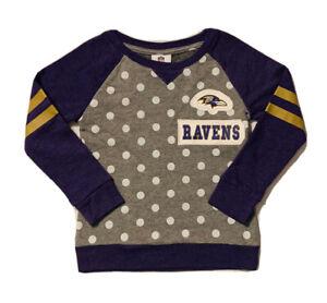 New NFL Baltimore Ravens Girls Gray & Purple Polka Dot Sweatshirt Size M (5/6)