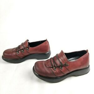 Dansko Womens Maroon Oxblood Oxford Shoe Leather Lace Up Shoes Sz 40 9.5/10