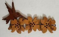 """Curved Wood Key Holder Rack Wall Hanger 5 Hooks Hummingbird and floral 8.5"""" W"""
