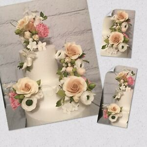 4 Piece Gum Paste Wedding/Celebration Cake Topper/Decoration With Roses