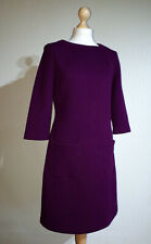 Boden Long Sleeved A Line Dress Ladies UK 12 Purple Honeycomb Crew Neck Smart