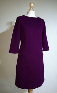 Boden A Line 3/4 Long Sleeve Crew Neck Dress Ladies UK 12 Smart Purple Honeycomb