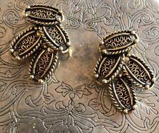 Vintage Antique 80s Sarah Cov Sarah Coventry Bronze Clip Earrings Estate