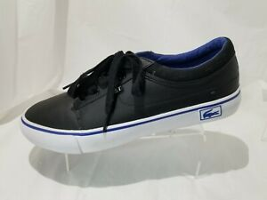 Lacoste Vaultstar  LCST Black Leather Blue Sneakers Casual Shoes Women's Size 10